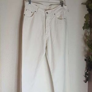 Men's White Pinstriped Italian Soviet Jeans 33